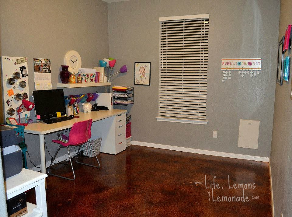 House Tour: Oatmeal Drive - Office Stained Concrete