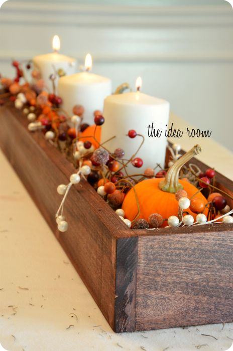 DIY Wood Box for fall decor inspiration