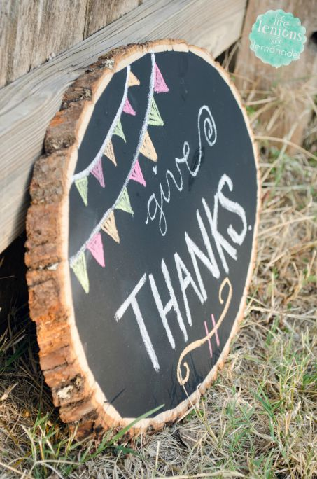 Give Thanks Wood Slice Chalkboard-Tall